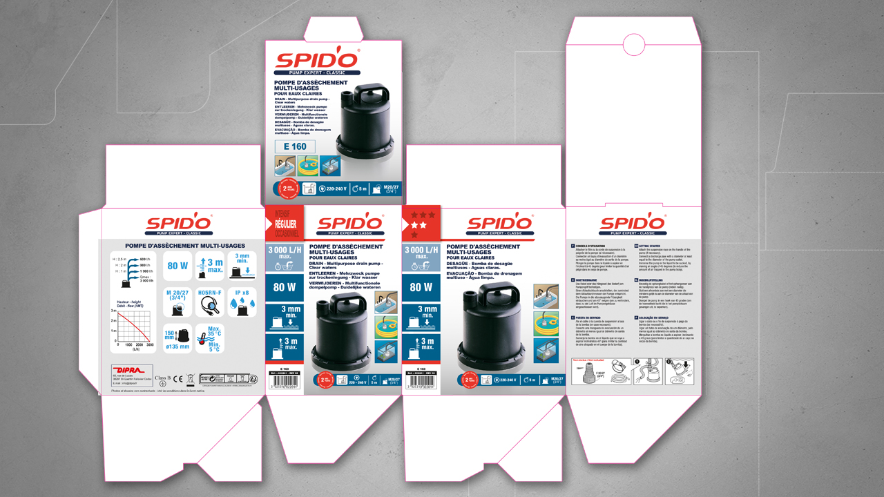 Patron du packaging de la gamme Spid'o de Dipra